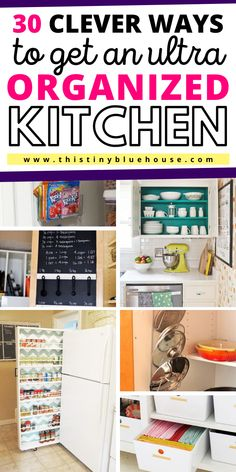 Get that kitchen organized with these super simple cheap and easy DIY Kitchen Organization hacks that can get even the messiest kitchen ultra organized. Tidy Kitchen, Messy Kitchen, Kitchen Organization Pantry, Diy Kitchen Storage, Home Organization Hacks, Cheap Kitchen, Organizing Ideas, Organized Kitchen, Organisation Ideas