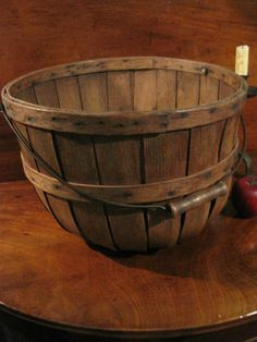 Antique 1800s New England Oak Wooden Slatted Woven Apple Gathering Basket with Bail Handle and Turned wooden grip. SOLD North Bayshore antiques