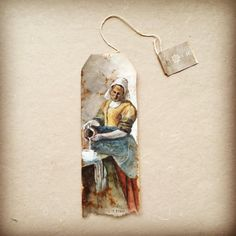One of three entries to the 2017 International Rijksstudio Award. Competition calls for designs based on a piece from the Rijksmuseum collection. This was inspired by Johannes Vermeer's 'The Milkmaid' (watercolor, gouache) Tea Bag Art, Tea Art, Used Tea Bags, Guache, My Art Studio, Art Journal Pages, Mail Art, Art Plastique, Altered Art