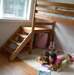 Camp Loft Bed with Stair, Junior Height. -This site shows how to build TONS & TONS of stuff WITH complete plans! Free. Not just kids stuff.