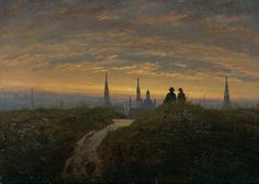 View of Dresden at Sunset Carl Gustav Carus - circa 1822   Painting - oil on canvas  Height: 22 cm (8.66 in.), Width: 30.5 cm (12.01 in.)