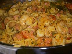 Cajun Shrimp & Sausage Pasta*** Ingredients ½ - ¾ lb cooked fettuccine 2 TBS olive oil 1 lb peeled, deveined raw large shrimp 1 TBS plus 2 tsp Essence seasoning (recipe below - I think you can buy this, too.) 1 ½ hot linked or smoked turkey sausages,. Cajun Shrimp And Sausage Pasta Recipe, Sausage Pasta Recipes, Garlic Shrimp Pasta, Seafood Recipes, Cooking Recipes, Garlic Chicken, Cajun Sausage, Chicken Pasta, Cajun Cooking