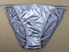 VTG Rosa Satin Fancy Lacy Sheer Front 5 Colors High Cut Bikini Panties sz S