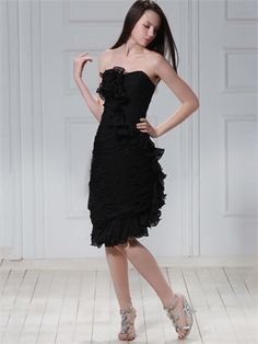 Column Black Strapless with Ruffles Pleated Chiffon Homecoming Dress HD1942 www.homecomingstore.com $129.0000