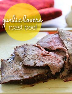 Vampires beware, there's garlic in every bite of this garlic lover's roast beef! And if that's not enough garlic, I like to serve this with my roasted brocc Skinny Recipes, Meat Recipes, Paleo Recipes, Real Food Recipes, Cooking Recipes, Slimming Recipes, Lamb Recipes, I Love Food, Good Food