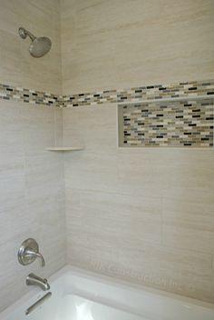 pictures of bathtub enclosures with dark granite tiles | Tile tub ...