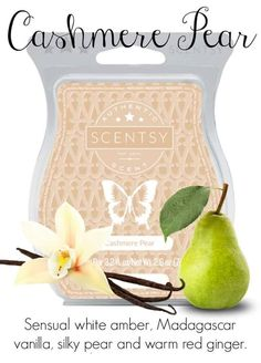 Scentsy UK: Cashmere Pear Scentsy Bar Slip into sensual white amber, Madagascar vanilla, silky pear and warm red ginger, a blend as smooth and luxurious as fine-spun cashmere. If you are a fan of candles, you will be amazed at Scentsy - a super simple system comprising of beautiful warmers & highly fragrant wax cubes which are melted electrically. No flames, no smoke, no soot! Click to visit my website to find out more!