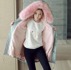 Women Hooded Fur Collar Parka Korean Youth Loose Slim Grils Overcoat Sweet A1418