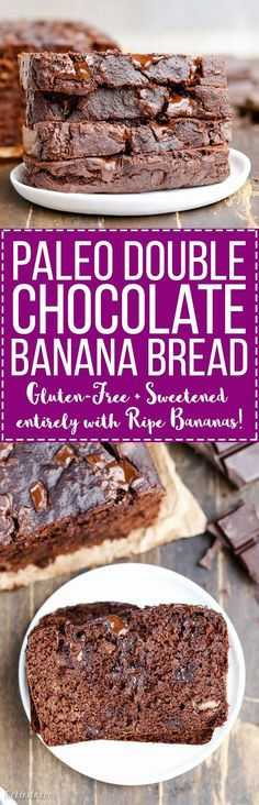 Paleo - Gluten free recipe - Dairy free - Refined sugar free - Double Chocolate Banana Bread is perfectly moist and gooey with an incredibly deep chocolate flavor, and you'd never guess it's sweetened entirely by ripe bananas. Dessert Sans Gluten, Low Carb Dessert, Paleo Dessert, Gluten Free Desserts, Gluten Free Recipes, Chocolate Banana Bread, Chocolate Flavors, Chocolate Recipes, Chocolate Granola