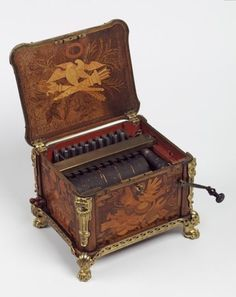 1770 French Bird Organ Music Box with a Beechwood Case and Marquetry Decoration, Leonard Boudin, Paris, France