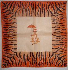 TAMMIS KEEFE TIGER HOLDING UMBRELLA Hanky Handkerchief Vintage