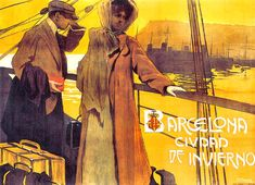 size: Stretched Canvas Print: Barcelona by C. Verger : Using advanced technology, we print the image directly onto canvas, stretch it onto support bars, and finish it with hand-painted edges and a protective coating. Art Nouveau Poster, Cleveland Museum Of Art, Vintage Art Prints, Painting Edges, Vintage Travel Posters, Stretched Canvas Prints, Find Art, Giclee Print, Poster Prints