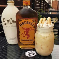 "Drink of the day:  ""Banana Toast Crunch""  Fireball Cinnamon Whisky, RumChata, a splash of half & half shaken then topped off with club soda and banana slices."