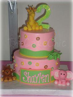 pink zoo animal cake
