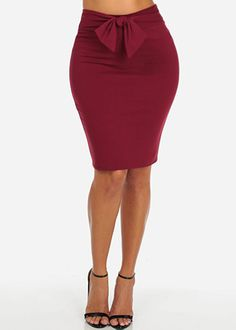 Ribbed High Waisted Skirt With Tie Belt (Red) | Stuff to buy ...