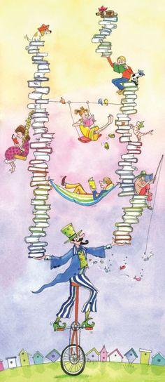 A veces las circunstancias (presupuestarias, mayormente) ponen difícil a los #bibliotecarios satisfacer las necesidades de sus usuarios, pero hemos aprendido a mantener el equilibrio en la adversidad ;-). (Ilustración de Louise C Bergeron) #BibUpo