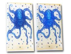 Blue Octopus Flour Sack Towels set of 2 21 x 30 FREE shipping.  Shades of blue will brighten up your kitchen or bath... great for the coastal home or inland cottage!