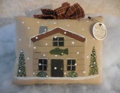 Primitive Folk Art Winter at the Cabin Hand Painted Wall Hanging Pillow Tuck by auntiemeowsprims on Etsy