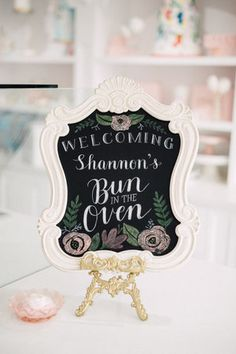 Handlettered chalkboard welcome sign - Bun In The Oven Baby Shower (Style Me Pretty & SMP Living)