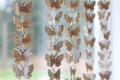 Butterfly garland made out of book pages