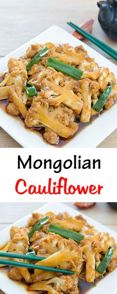 Mongolian Cauliflower. This easy stir fry is a healthier alternative to Mongolian Beef!