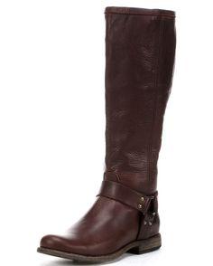 Frye Women's Vintage Phillip Harness Tall Boot - Dark Brown