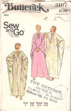McCalls 3617 1970s  Misses Batwing CAFTAN Pattern Contrast Princess Seams Womens Vintage Sewing Size Sm B 31 32 Or Medium
