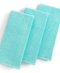 Martha Stewart Collection Kitchen Towels, Set of 3 Textured Terry Aqua - Kitchen Gadgets - Kitchen - Macy's