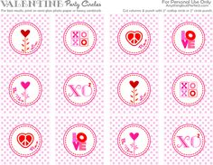 Valentine Party Circles (Cupcake Toppers) ♥ Free Printable ♥