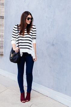 Striped lace sweater