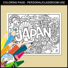 Doodle Japan Colouring Page