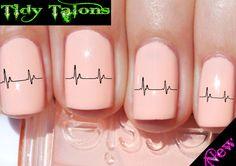 EKG Waves Nail Art Water Slide Nail Decals Wrap All Nail Types | eBay                   OMG.