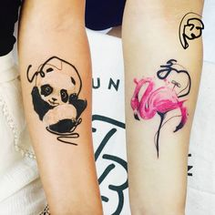 Panda and flamingo tattoos on the forearm. Tattoo artist: Tayfun Bezgin