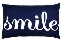 """Smile"" 12x20 Pillow, Navy on OneKingsLane.comhttps://www.onekingslane.com/product/32224/2030450 #smile #thro #navy"