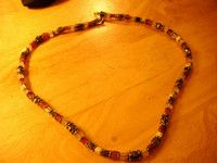 """square glass bead silvertone necklace 18.5""""long in black,wine,blue,white colours"""