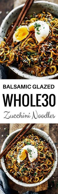 192 calorie whole30 balsamic glazed asian zucchini noodles! Super easy whole30 and paleo meal. A healthy dinner recipe for the whole family! Kid friendly noodles with a tempting asian sauce. whole30 meal plan. Easy whole30 dinner recipes. Easy whole30 dinner recipes. Whole30 recipes. Whole30 lunch. Whole30 meal planning. Whole30 meal prep. Healthy paleo meals. Healthy Whole30 recipes. Easy Whole30 recipes. Easy whole30 dinner recipes. Zucchini noodle recipe. Best veggie noodle...