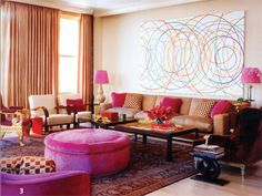 big ottoman room by jamie drake photo william waldron by elle decor Sweet Home, Elle Decor, Pink Ottoman, Round Ottoman, Round Stool, Interior Decorating, Interior Design, Decorating Ideas, Living Room Colors