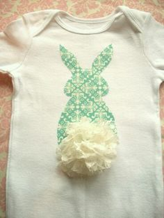 Items similar to Girls Easter Shirt -Bunny Butt - Turquoise with Lace Tail- Spring and Easter- Size on Etsy Sewing For Kids, Baby Sewing, Do It Yourself Baby, Baby Crafts, Baby Love, Diy Clothes, Kids Outfits, Kids Fashion, Onesies