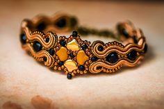 Soutache handmade beaded gold-black bracelet by nikuske on Etsy Buy Earrings, Teardrop Earrings, Beaded Earrings, Statement Earrings, Beaded Bracelets, Soutache Bracelet, Soutache Jewelry, Bracelet Set, Black Bracelets