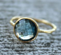 Gold Blue Topaz Ring  Round Cut  Stack Ring December by OhKuol, $65.00