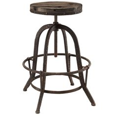 Collect Industrial Modern Wood Top Bar Stool in Brown
