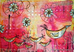 So addicted to these types of art. Art Journal - Chickens! by thekathrynwheel, via Flickr