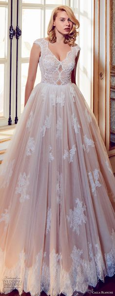 72a1264c10 ... v neck heavily embellished bodice romantic blush color a line wedding  dress open v back royal train (43) zv -- Calla Blanche Fall 2017 Wedding  Dresses