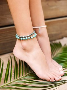 Sandbar Beaded Anklet Set | The perfect mix-n-match accessory, this set of three anklets each complementing the other, features different color beads and charms.  Wear one or wear them all!