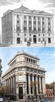 Palacio del Marqués de Casa-Irujo. En la c/ de Alcalá, 46, esquina con la c/ Barquillo. Construido en 1836. En los bajos del edificio, se abrió en el año 1838 el célebre Café Cervantes. Se derribó para construir el edificio del Banco Español del Río de la Plata, pasando posteriormente a ser del Banco Central y en la actualidad el Instituto Cervantes.