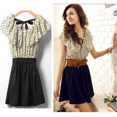 Fashion Japan Korean Women Summer Fashion Short-sleeve Dot Polka Waist Dress Top | eBay