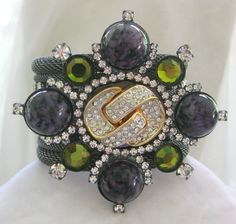 VRBA Marbled Purple Glass & Green Stones Cuff Bracelet from vintagejewelrytoo on Ruby Lane