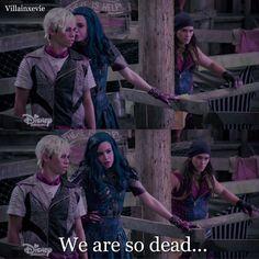 "53 To se mi líbí, 1 komentářů – -E (@villainxevie) na Instagramu: """"We are so dead.."" good thing dude never listened #disney #disneyrp #descendants #descendants2…"""