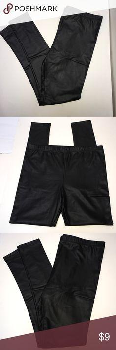 "Black Pleather Leggings Size L Black Pleather Leggings  Elastic waistband   Ankle Length: 4.9"" Pants Leggings"