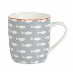 Mug Poissons gris Porcelaine : Jardin d'Ulysse, vente Art de la table Gris Porcelaine